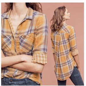 Cloth & Stone Anthropologie Brecken Plaid Top